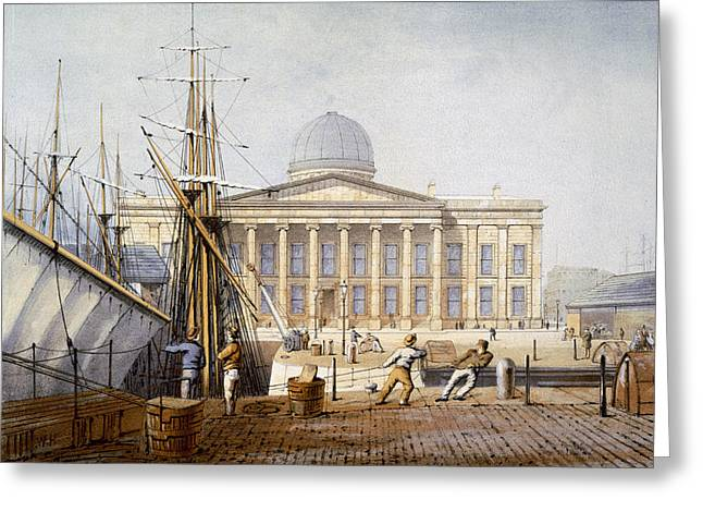 Docked Boats Greeting Cards - The Customs House And Revenue Building Greeting Card by William Gavin Herdman