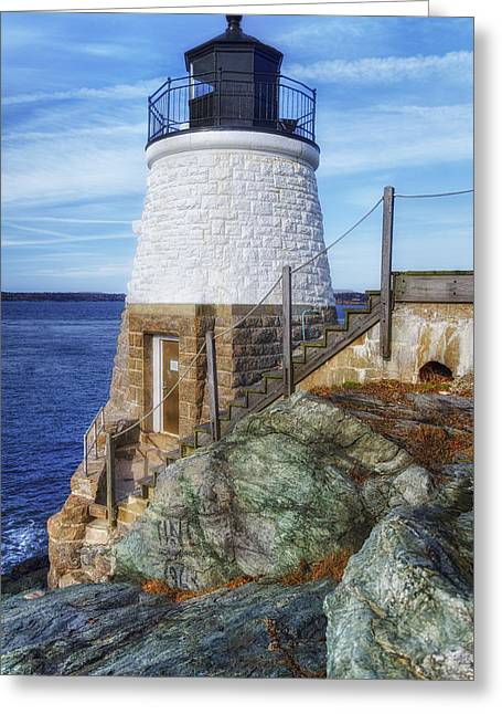 New Greeting Cards - Castle Hill The Cutest Lighthouse in the World Greeting Card by Joan Carroll