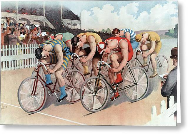 Bike Riding Greeting Cards - The Cycle Race, Pub. The Calvert Litho Greeting Card by American School