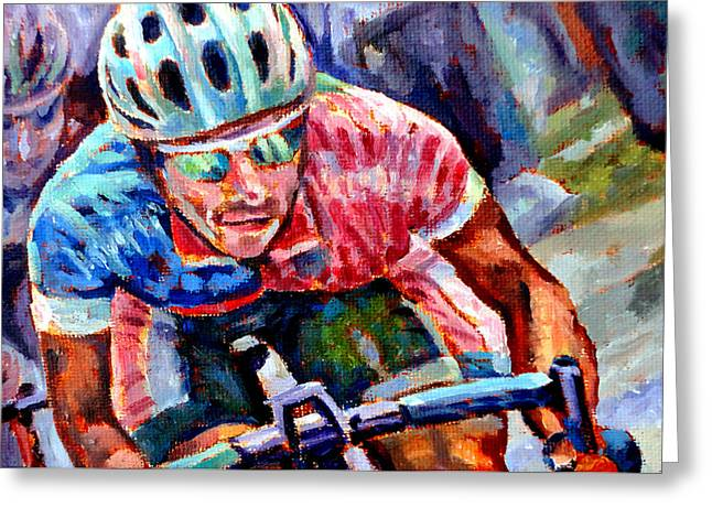 Mountain Climbing Art Print Paintings Greeting Cards - The Cyclist Greeting Card by Mark Hartung