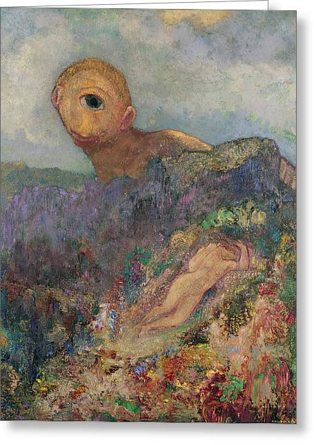 Galatea Greeting Cards - The Cyclops, C.1914 Oil On Canvas Greeting Card by Odilon Redon