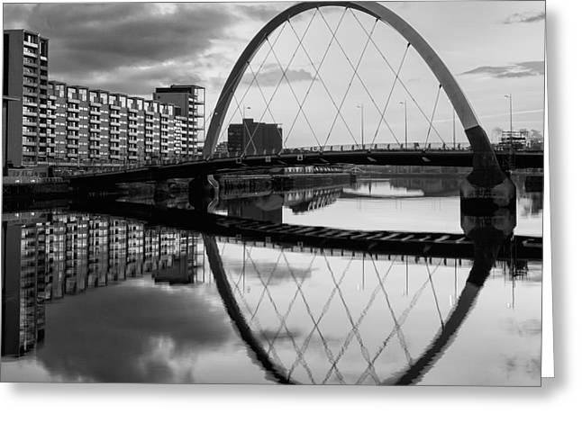 Glasgow Greeting Cards - The Cyde Arc Squinty Bridge Greeting Card by John Farnan