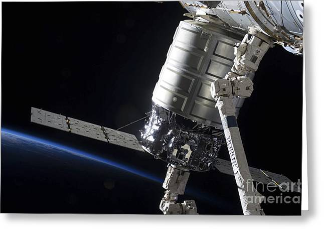 Emergence Greeting Cards - The Cygnus Spacecraft Attached Greeting Card by Stocktrek Images