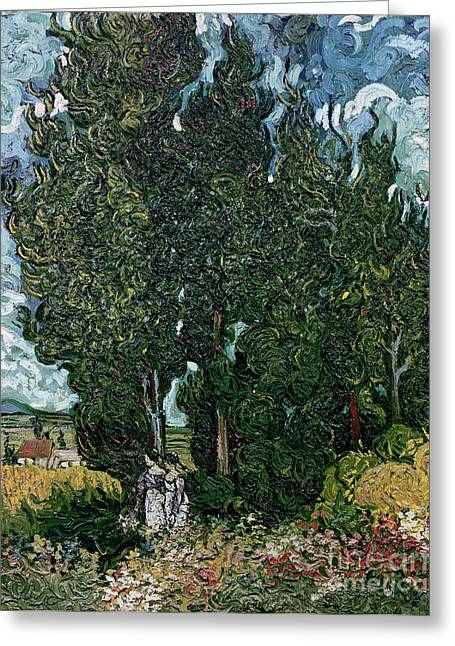 Saint-remy De Provence Greeting Cards - The cypresses Greeting Card by Vincent van Gogh