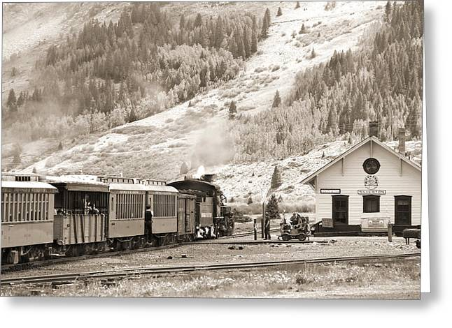 Durango Greeting Cards - The D and S Pulls Into The station Greeting Card by Mike McGlothlen