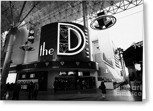 Freemont Street Greeting Cards - the D Las Vegas casino hotel freemont street Nevada USA Greeting Card by Joe Fox
