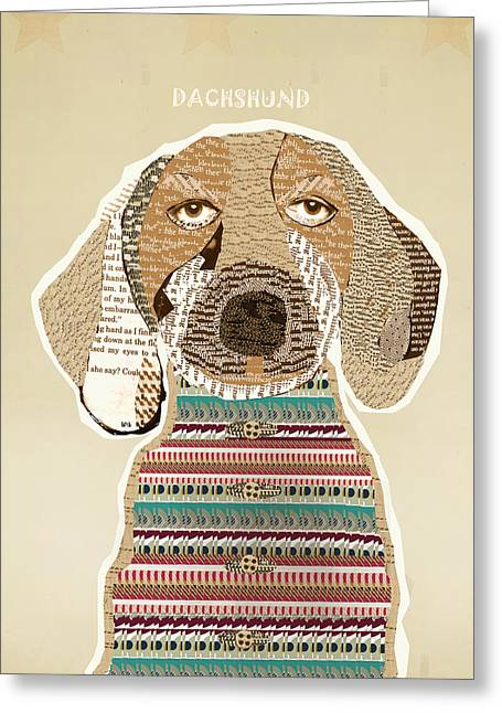 Abstract Of Dogs Greeting Cards - The Dachshund Greeting Card by Bri Buckley