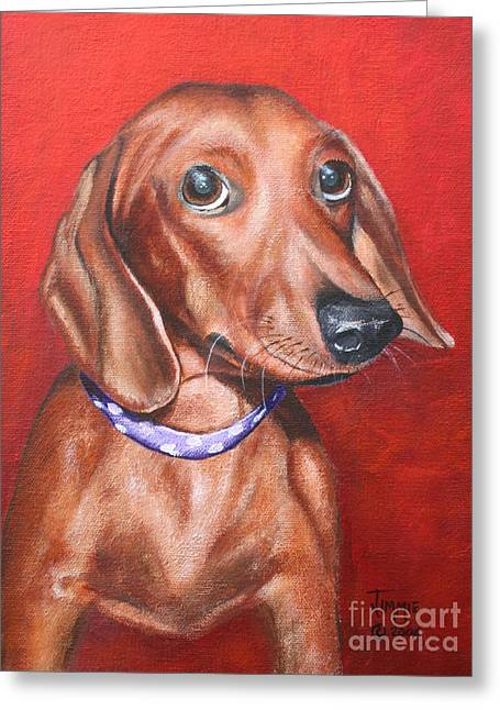 Puppies Paintings Greeting Cards - The Dachshund Greeting Card by Jimmie Bartlett