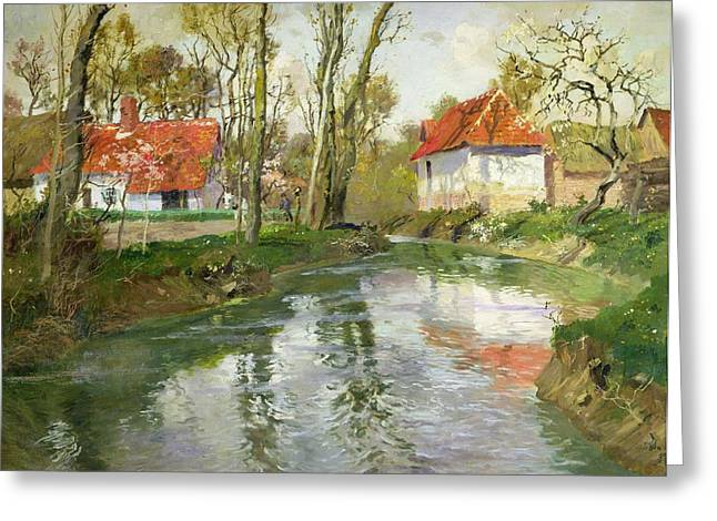 Calm Water Reflection Greeting Cards - The Dairy at Quimperle Greeting Card by Fritz Thaulow