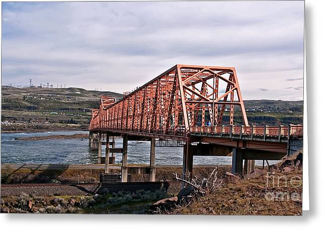 The Plateaus Greeting Cards - The Dalles Steel Bridge Over the Columbia River Washington  Greeting Card by Valerie Garner