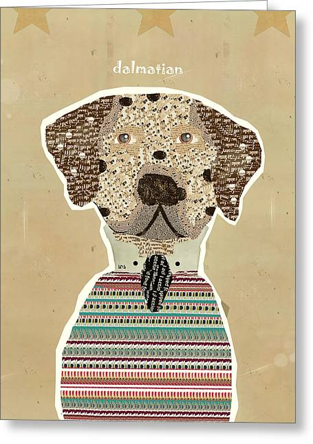 Dog Abstract Art Print Greeting Cards - The Dalmatian  Greeting Card by Bri Buckley