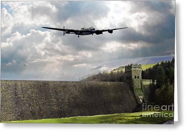 Derwent Dam Greeting Cards - The Dambusters over The Derwent Greeting Card by J Biggadike