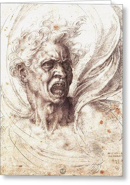 The Uffizi Greeting Cards - The Damned Soul Greeting Card by Michelangelo Buonarroti
