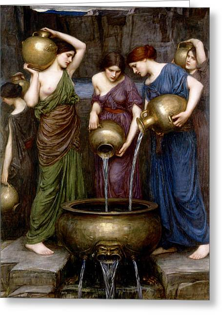 Water Jug Greeting Cards - The Danaides Greeting Card by John William Waterhouse