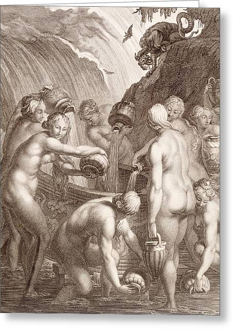 Posters Of Nudes Paintings Greeting Cards - The Danaids Condemned to Fill Bored Vessels with Water Greeting Card by Bernard Picart