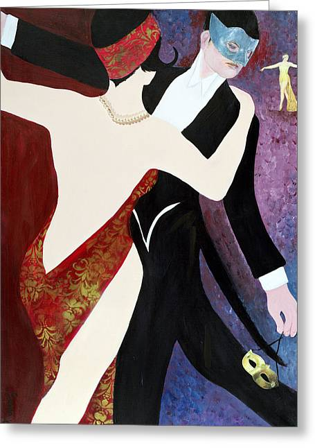 High Society Photographs Greeting Cards - The Dance, 2004 Acrylic With Collage On Paper Greeting Card by Susan Adams