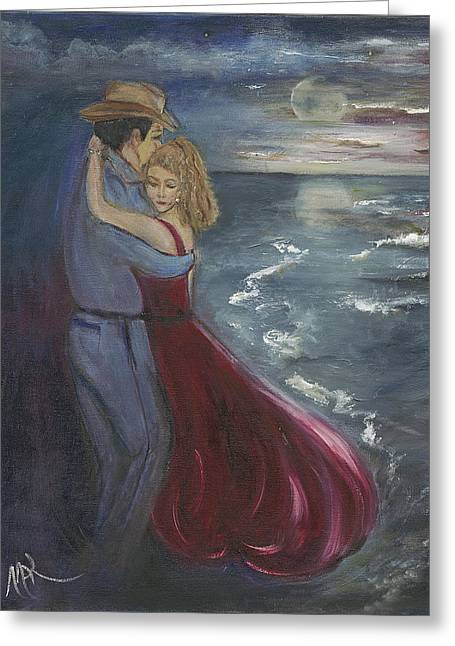 Recently Sold -  - Moon Beach Greeting Cards - The Dance By The Sea Greeting Card by Margaret King