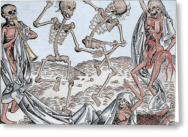 Doomed Greeting Cards - The Dance of Death Greeting Card by Michael Wolgemut