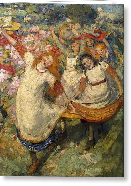 Dancing Girl Greeting Cards - The Dance Of Spring Greeting Card by Edward Atkinson Hornel
