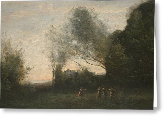 Dance Photographs Greeting Cards - The Dance Of The Nymphs, 1865-70 Oil On Canvas Greeting Card by Jean Baptiste Camille Corot