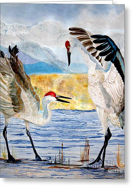 Sandhill Cranes Paintings Greeting Cards - The Dance - Sandhill Cranes Greeting Card by Anderson R Moore