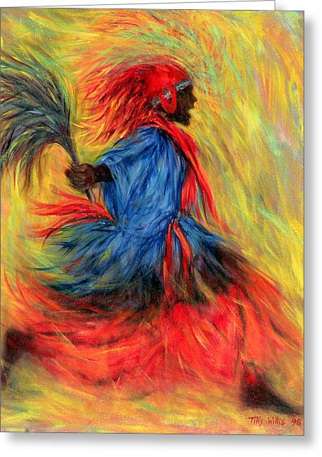 Traditional Dance Greeting Cards - The Dancer, 1998 Oil On Canvas Greeting Card by Tilly Willis
