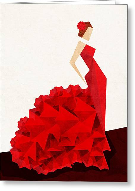 Red Dress Greeting Cards - The Dancer Flamenco Greeting Card by VessDSign
