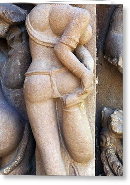 Khajuraho Dancer Photographs Greeting Cards - The Dancer in Stone 2 Cropped Greeting Card by C H Apperson
