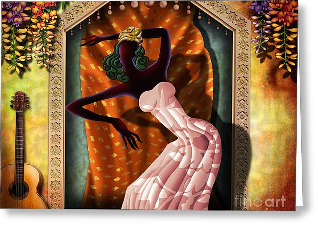 Flowers Posters Greeting Cards - The Dancer V1 Greeting Card by Bedros Awak