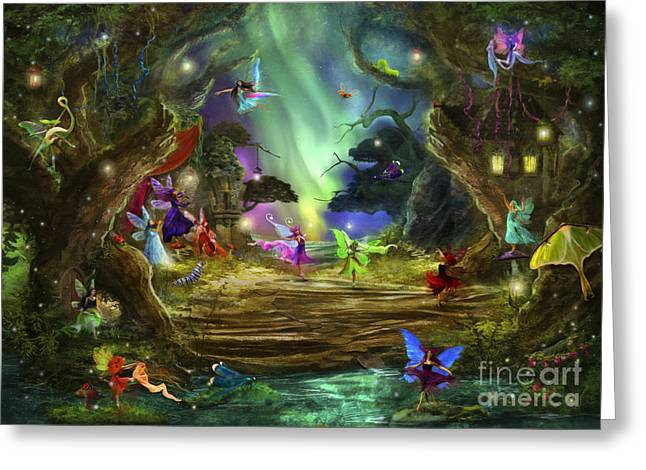 Fairyland Greeting Cards - The Dancing Auroras Greeting Card by Aimee Stewart