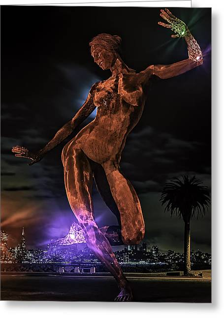 Bay Bridge Greeting Cards - The Dancing Lady Greeting Card by PhotoWorks By Don Hoekwater