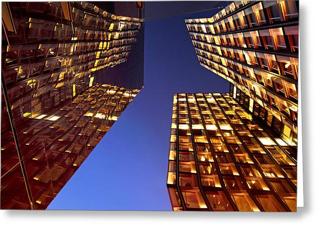 Architectur Greeting Cards - The Dancing Towers Greeting Card by Marc Huebner