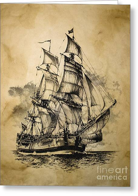 Recently Sold -  - Pirate Ships Greeting Cards - The Dark Endeavor Greeting Card by Brad Cooper