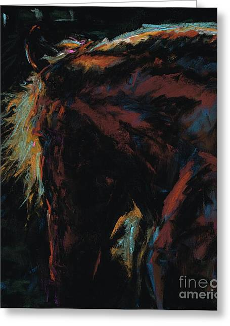 Southwest Pastels Greeting Cards - The Dark Horse Greeting Card by Frances Marino