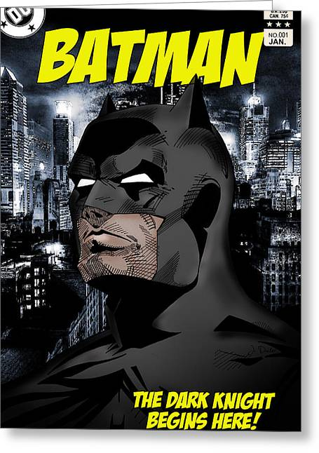 Dc Comics Greeting Cards - The Dark Knight Begins Here Greeting Card by Mark Rogan