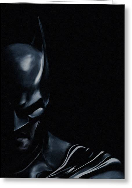 Character Portraits Paintings Greeting Cards - The Dark Knight Greeting Card by Jeff DOttavio