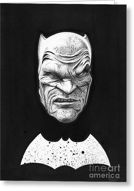 Wave Art Drawings Greeting Cards - The Dark Knight Greeting Card by Wave