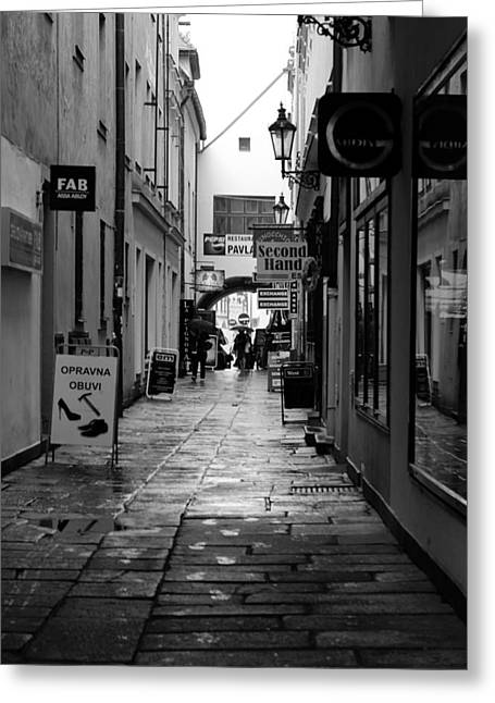 Budejovice Greeting Cards - The Dark Rainy Alleyway Greeting Card by Mountain Dreams