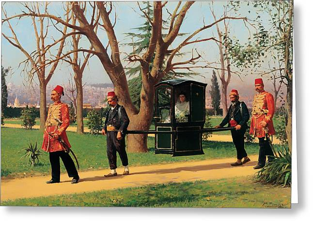 Carry Paintings Greeting Cards - The Daughter of the English Ambassador Riding in a Palanquin Greeting Card by Fausto Zonaro