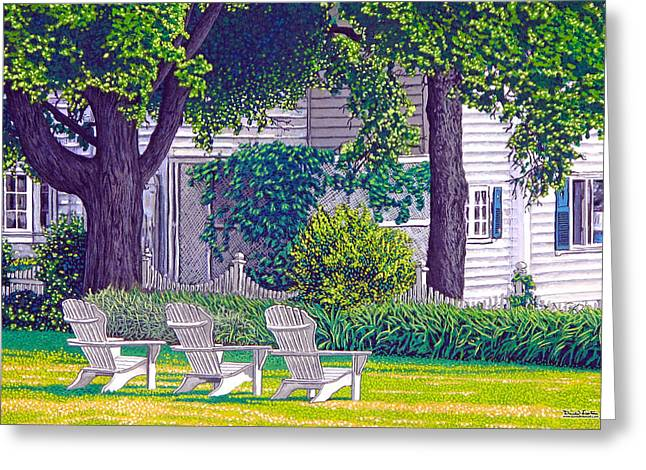 Lawn Chair Mixed Media Greeting Cards - The Day Awaits Greeting Card by David Linton
