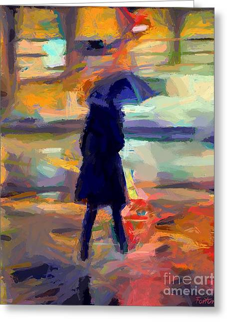 Silhoette Greeting Cards - The day for an umbrella Greeting Card by Dragica  Micki Fortuna