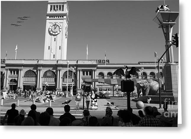 E Black Greeting Cards - The Day The Circus Came To Town Again DSC1745 Long BW Greeting Card by Wingsdomain Art and Photography