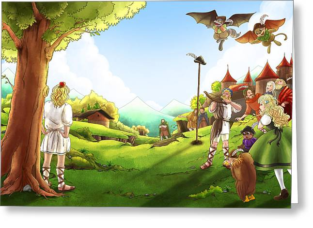 Archery Paintings Greeting Cards - The Day the Legend Began Greeting Card by Reynold Jay