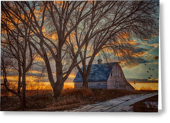 Recently Sold -  - Old Barns Greeting Cards - The Days Last Kiss Greeting Card by Nikolyn McDonald