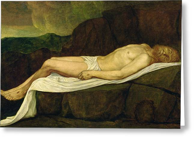 Lay Greeting Cards - The Dead Christ, 1888 Oil On Canvas Greeting Card by Alphonse Legros