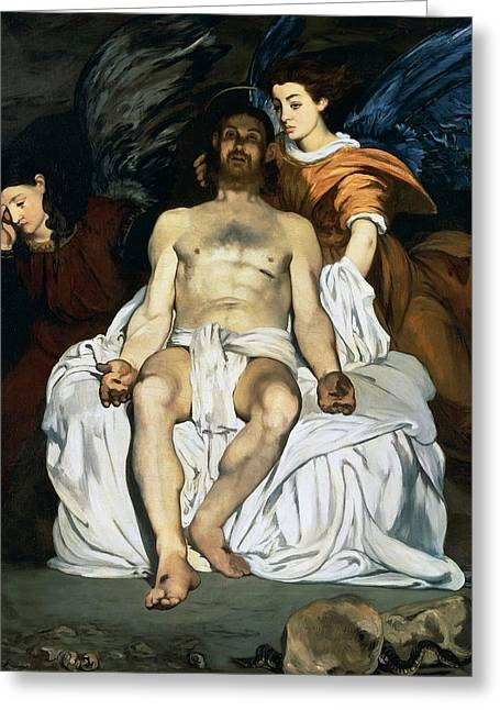 1874 Greeting Cards - The dead Christ and angels Greeting Card by Edouard Manet