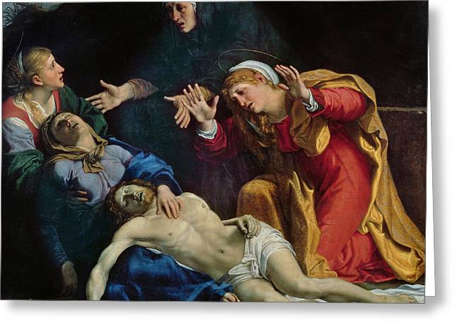 Gospel Greeting Cards - The Dead Christ Mourned  Greeting Card by Annibale Carracci