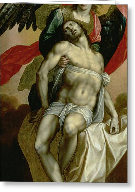 Carry Paintings Greeting Cards - The Dead Christ Supported by an Angel  Greeting Card by Jacques de Backer