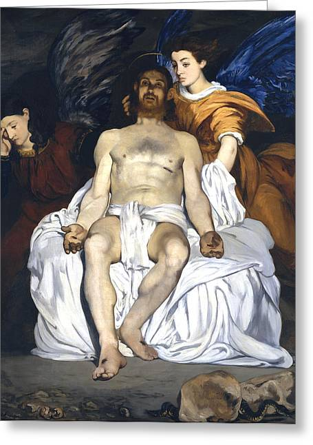 Jesus Christ Images Digital Art Greeting Cards - The Dead Christ With Angels Greeting Card by Edouard Manet