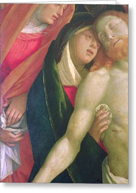 Gospel Greeting Cards - The Dead Christ with the Virgin and Saints Greeting Card by Gaudenzio Ferrarri
